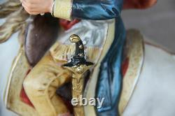 Vintage italian capodimonte porcelain Statue Napoleon horse figurine group