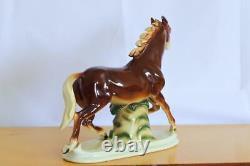 Vintage original Rare German porcelain figurine Running Horse 1960s home decor