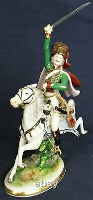 Volkstedt figure of a military Hussar on charging horse vintage