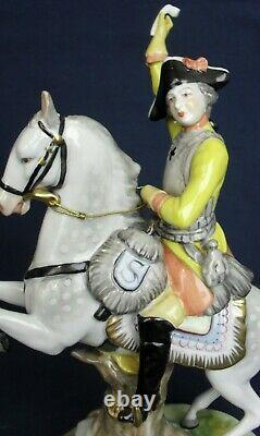 Volkstedt figure of a soldier on rearing horse vintage