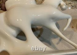 Vtg 58 Modernist Royal Dux Nude Lady Godiva on Horse White Porcelain Statue