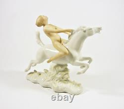 Wallendorf, Nude Lady Riding A Horse 7.4, Handpainted Porcelain Figurine