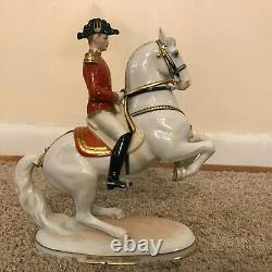 Wien 1591 Levade Lipizzaner and Horse Rider Porcelain Figural / Figurine