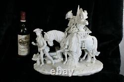 XL German Scheibe alsbach bisque porcelain group statue horse marked