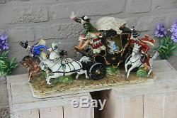XL German VOLKSTEDT porcelain coach horses princess Carriage Statue group