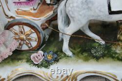 XL Karl Klette marked porcelain Coach lace princess horses carriage statue group
