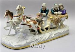XXL Rare Scheibe Alsbach Porcelain Horse Carriage Figural Group Sled marked